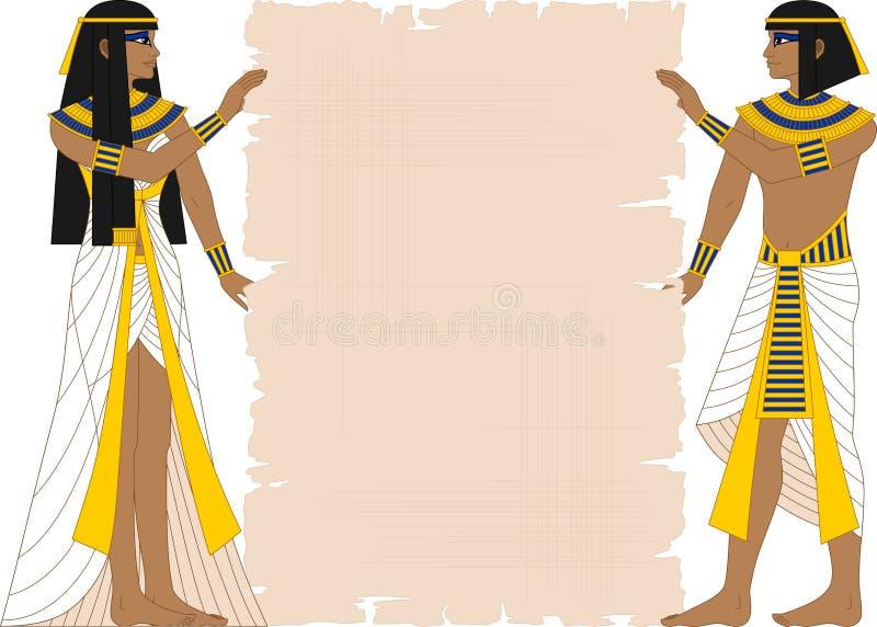 Mulher egípcia e homem que guardam o papiro ilustração royalty free