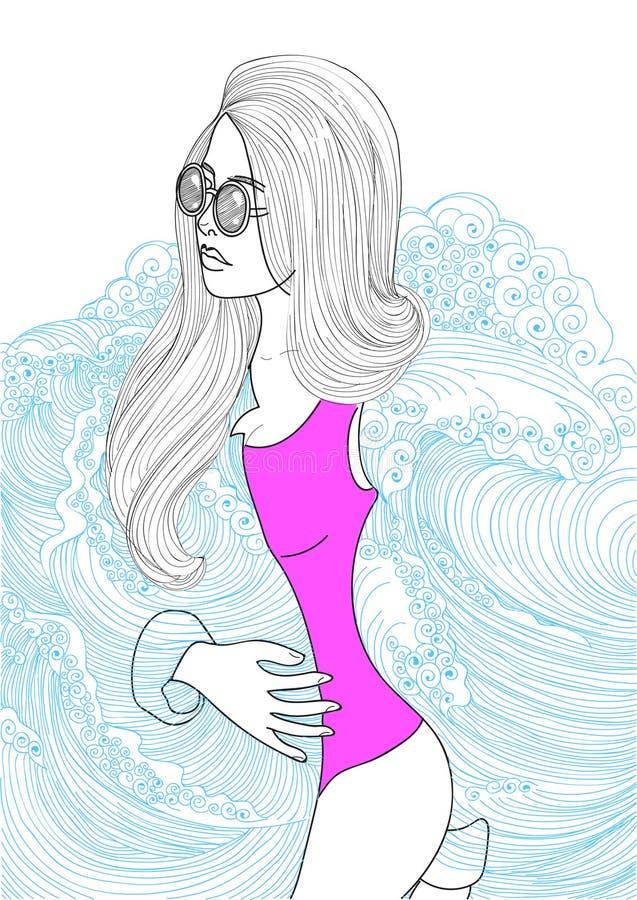 Mulher elegante bonita de Ector que veste um revestimento do mar ilustração royalty free