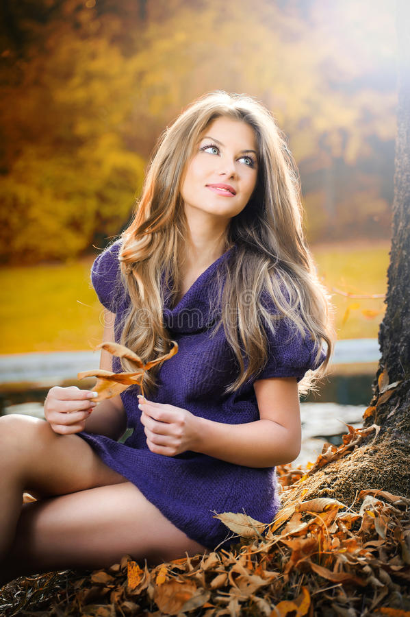 Mulher elegante bonita que está em um parque no outono fotografia de stock royalty free