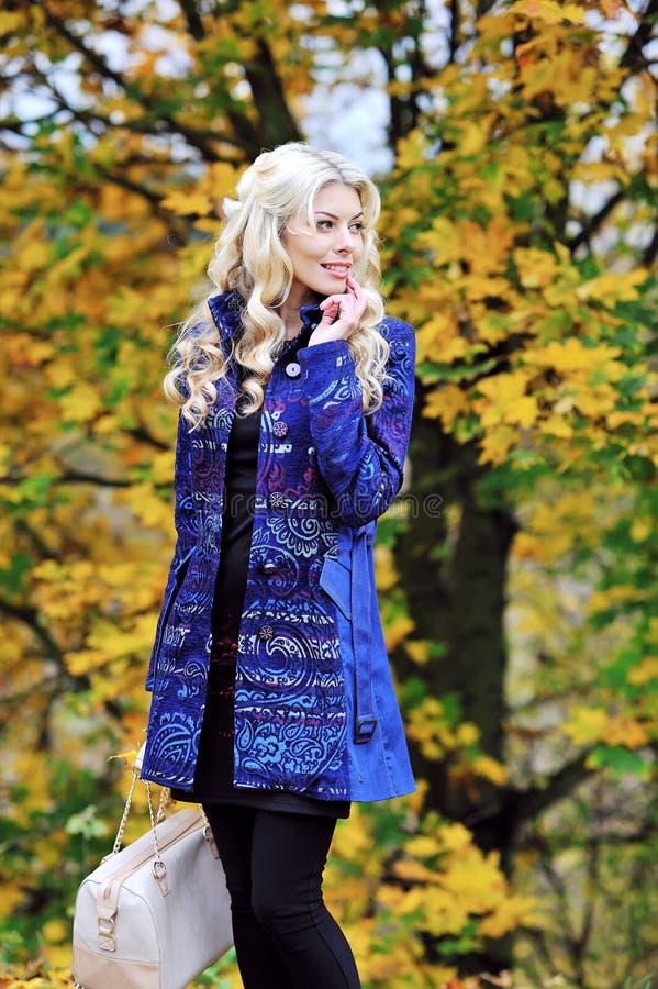 Mulher elegante bonita que está em um parque no outono foto de stock