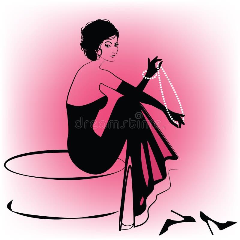 Mulher elegante com pérolas ilustração do vetor