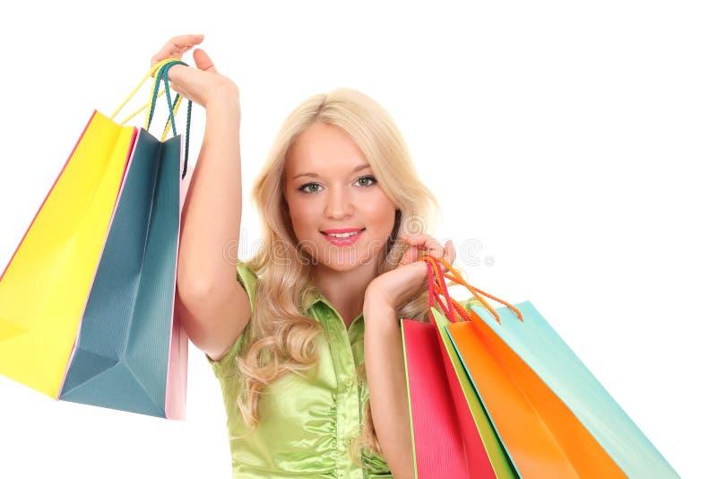Mulher elegante com sacos de compra foto de stock royalty free