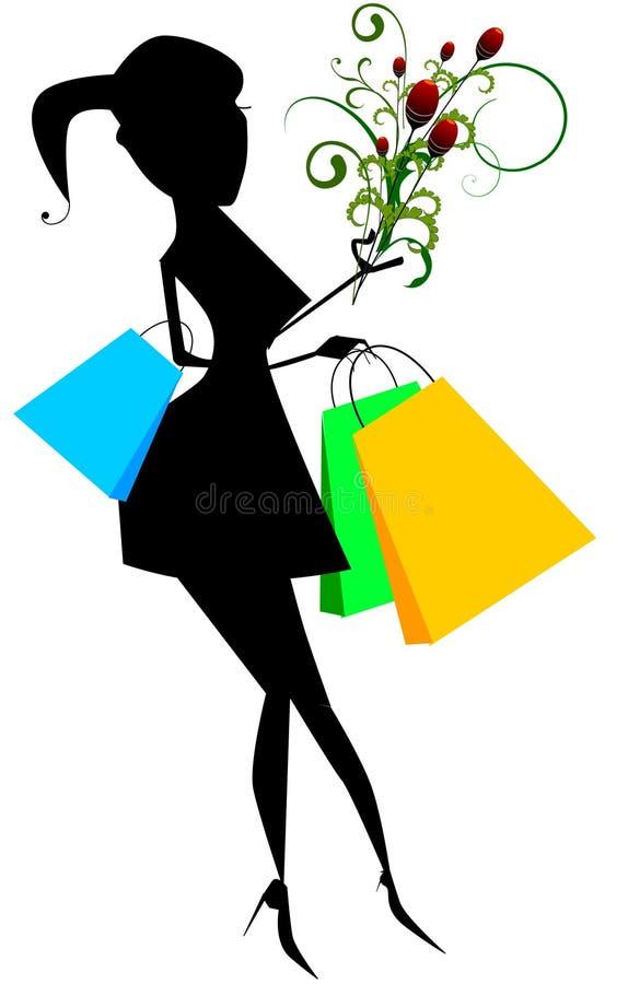Mulher elegante com sacos de compra ilustração royalty free