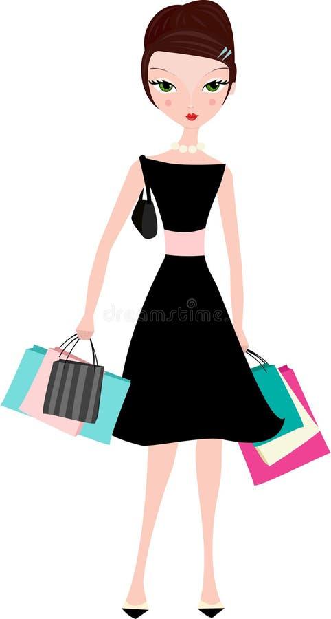 Mulher elegante com sacos de compra ilustração do vetor