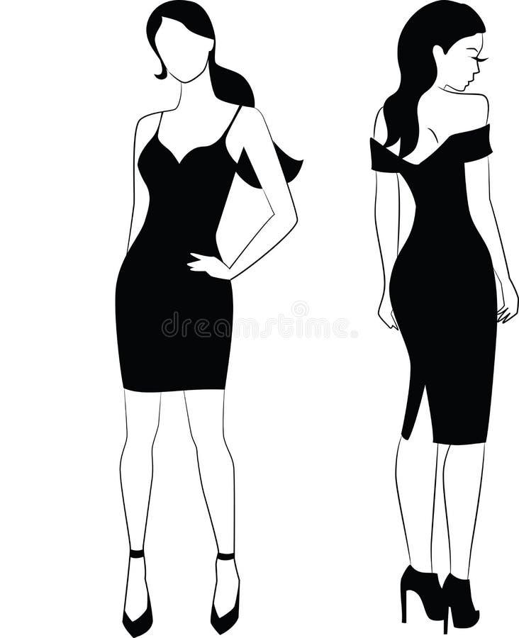 Mulher elegante em pouco vestido preto ilustração do vetor