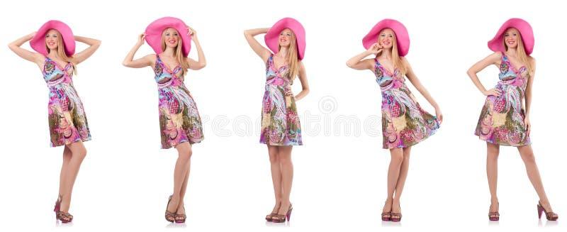 A mulher elegante isolada no branco fotos de stock royalty free