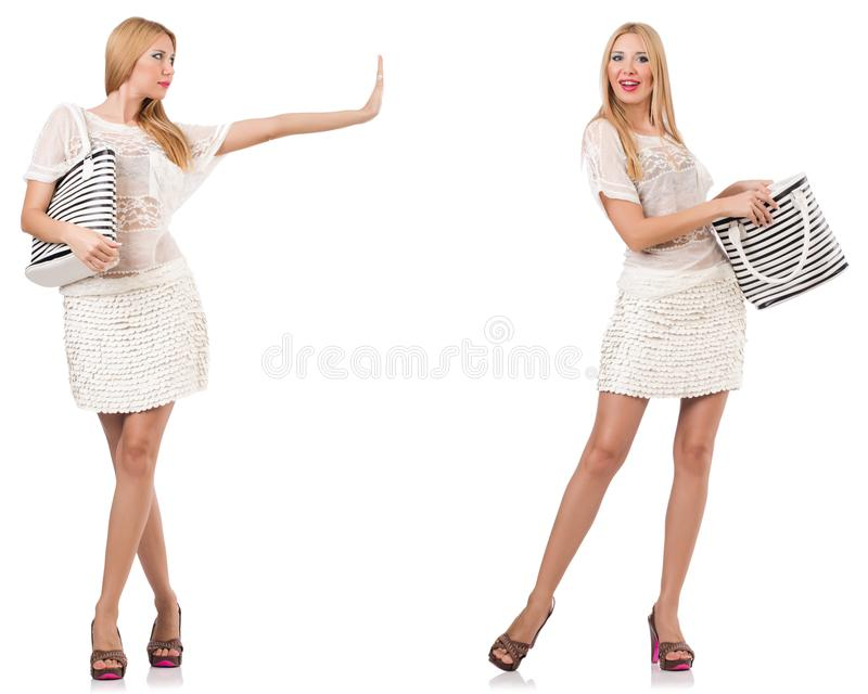 A mulher elegante isolada no branco foto de stock