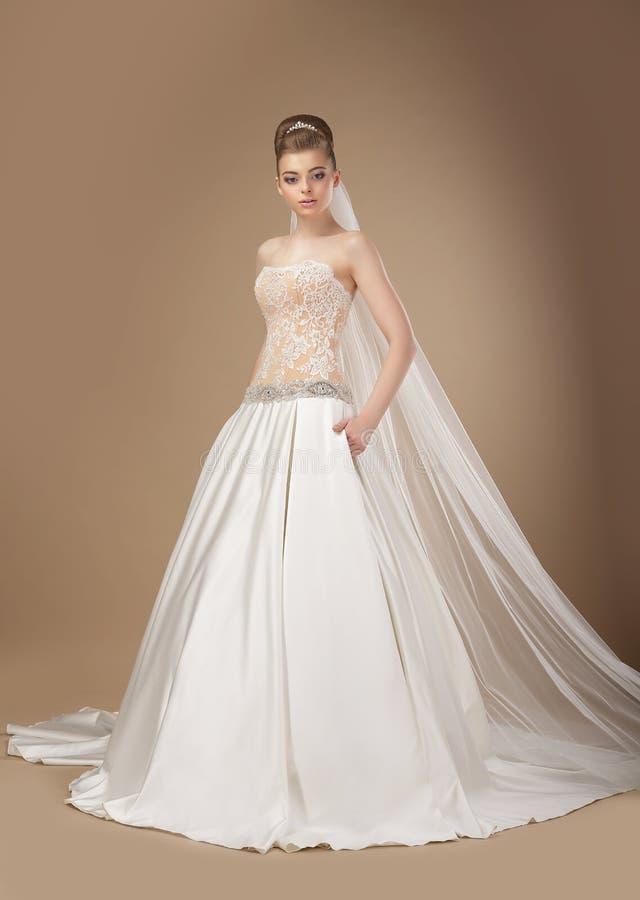 Mulher elegante no levantamento longo do vestido elegante imagem de stock royalty free