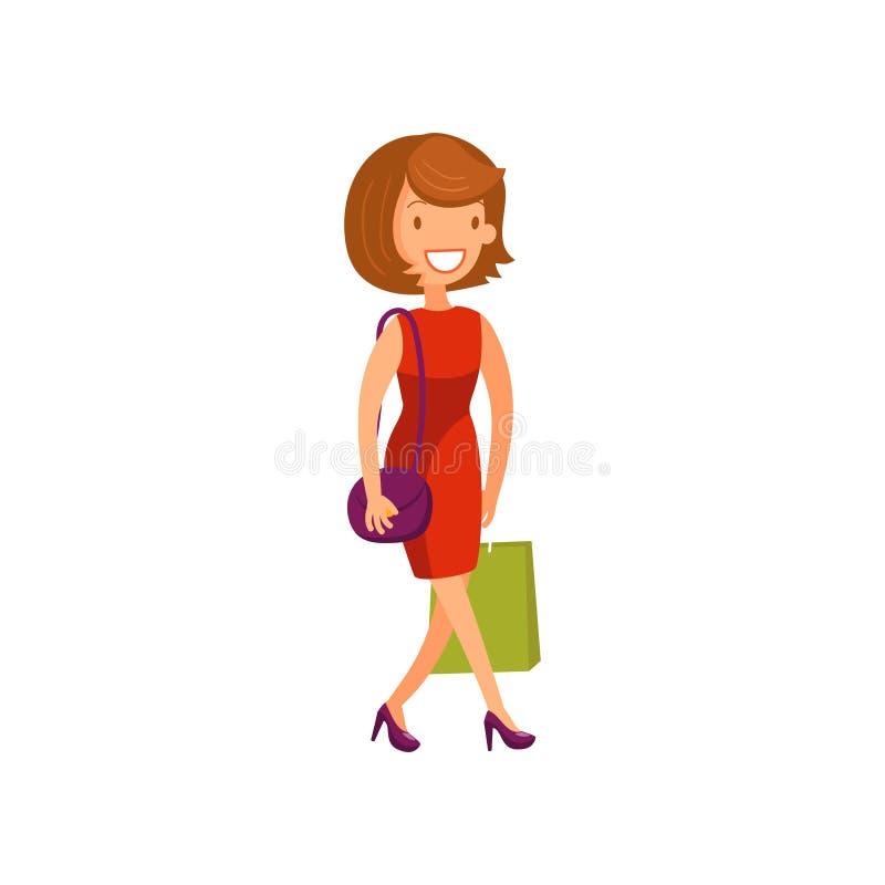 Mulher elegante nova no vestido vermelho que anda com ilustração do vetor dos desenhos animados dos sacos de compras ilustração stock
