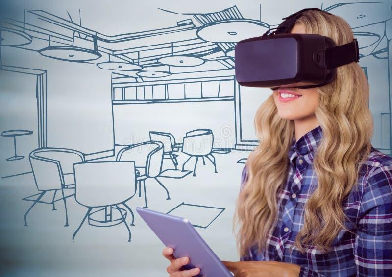 Mulher em auriculares da realidade virtual com a tabuleta contra mão azul o escritório tirado foto de stock