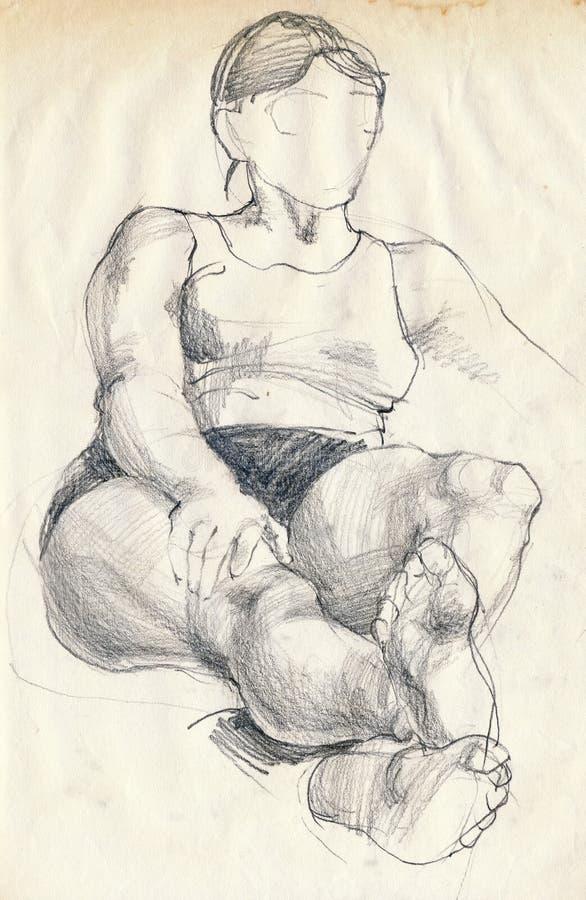 Mulher, em casa ilustração royalty free