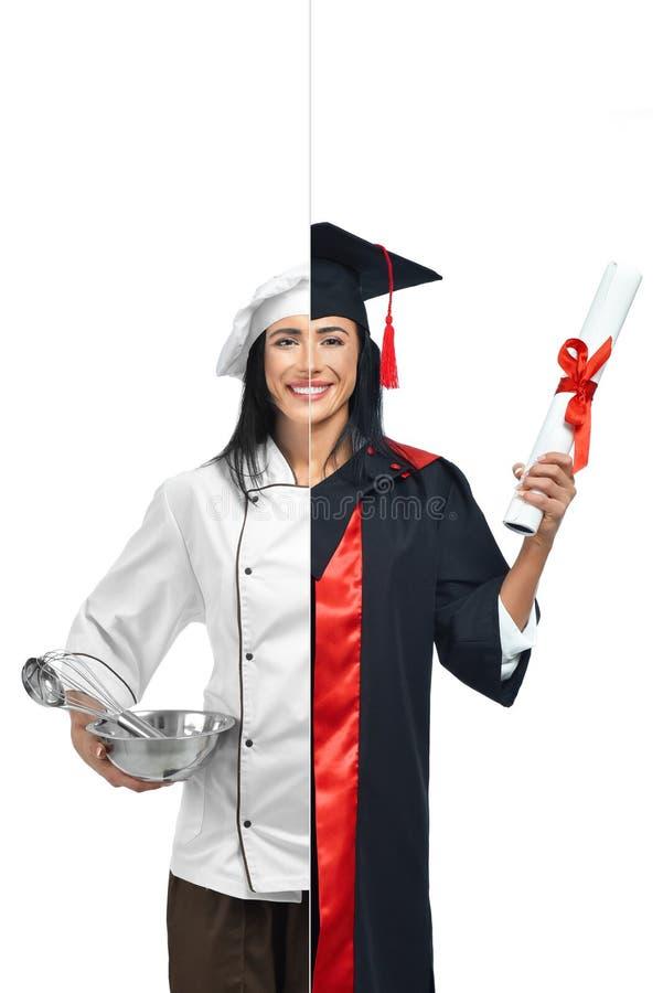 Mulher em duas ocupações do cozinheiro chefe e do aluno diplomado fotografia de stock royalty free