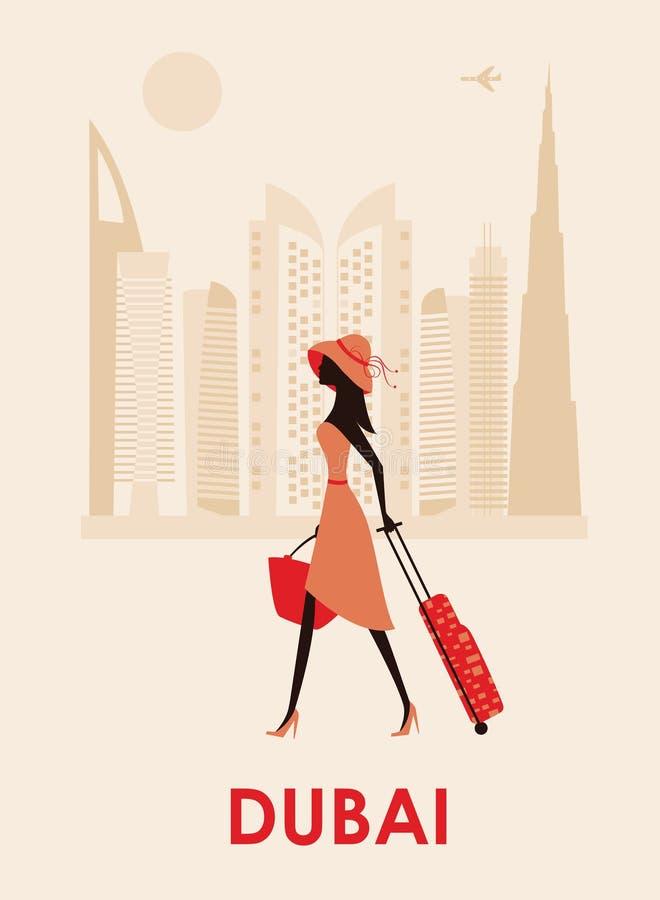 Mulher em Dubai ilustração do vetor
