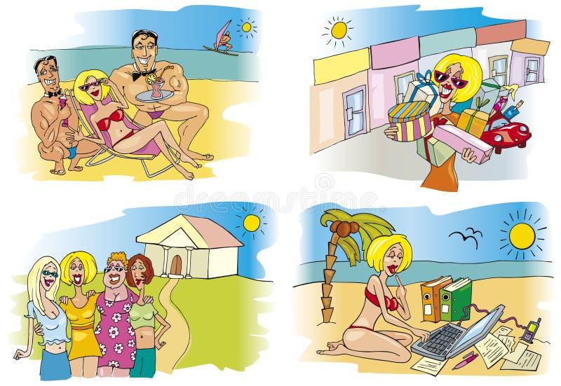 Mulher em férias do feriado ilustração royalty free