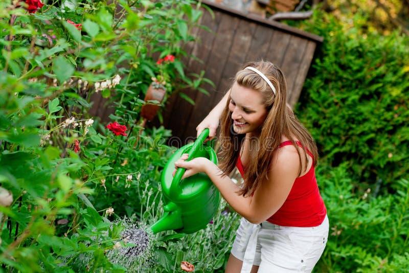 Mulher em flores molhando do jardim foto de stock royalty free