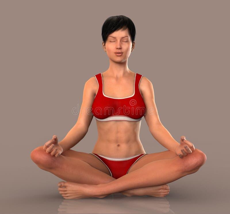 Mulher em meditar da pose da ioga ilustração do vetor