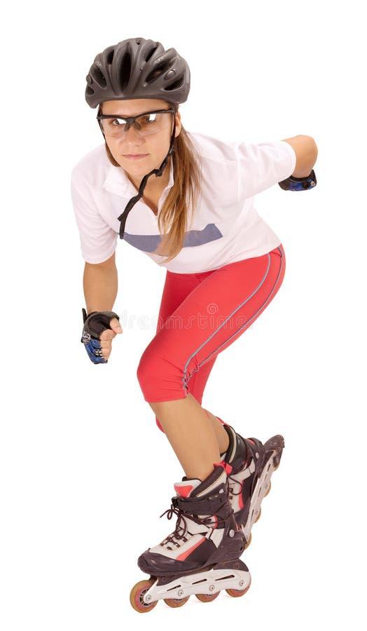 Mulher em patins de rolo imagem de stock royalty free
