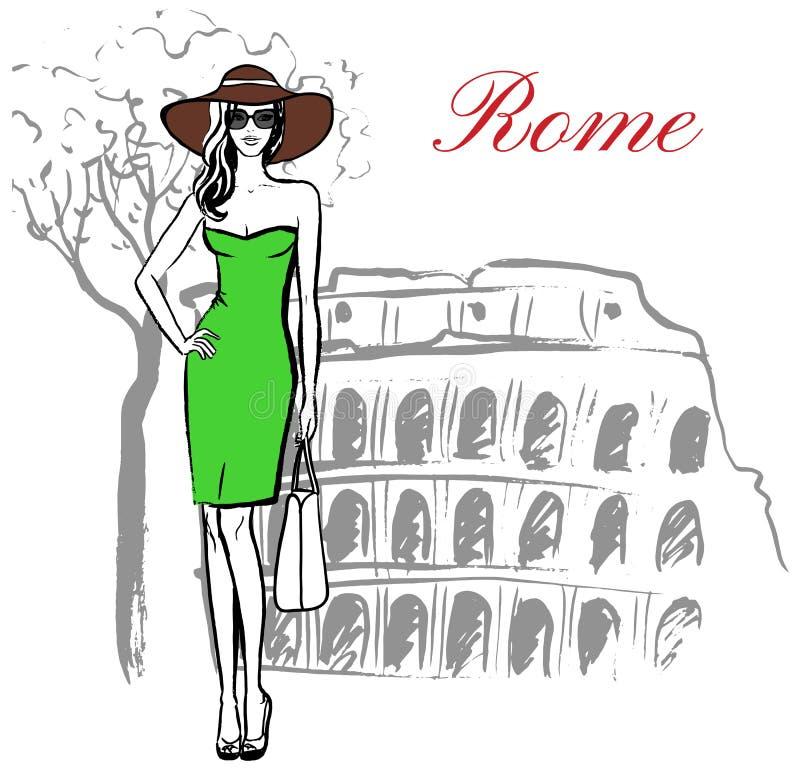 Mulher em Roma ilustração stock