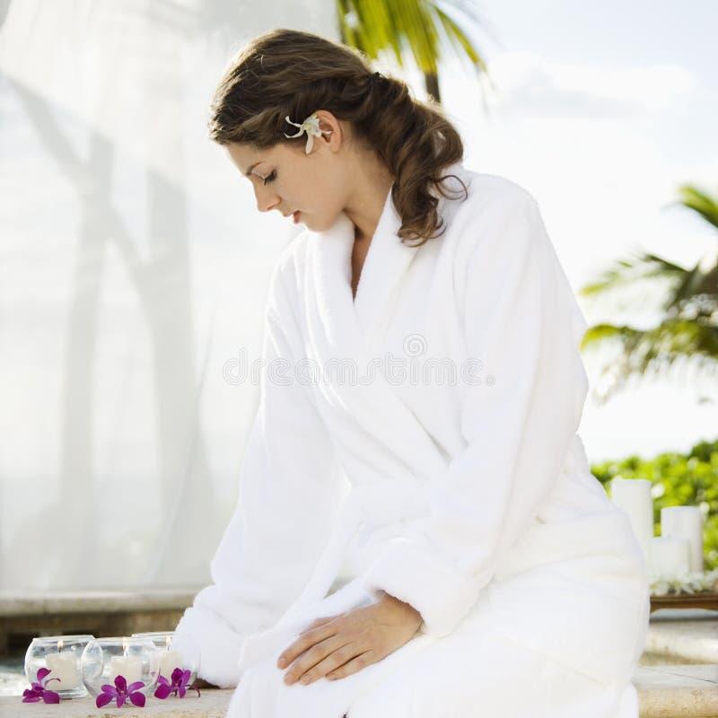 Mulher em termas. fotos de stock royalty free