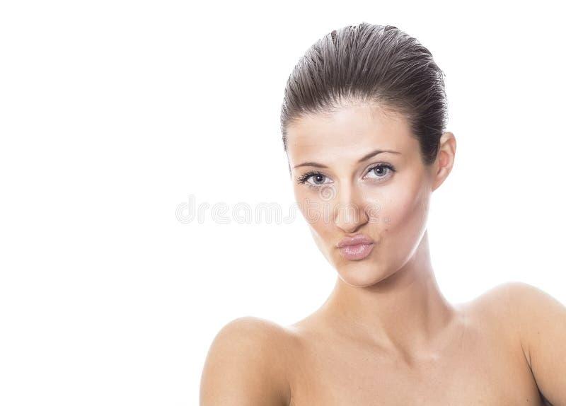Mulher em topless da sensualidade com bordos expressivos fotos de stock