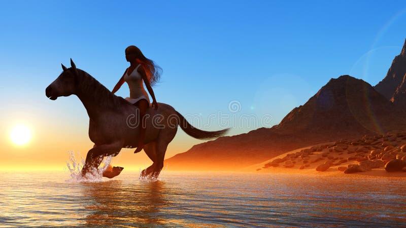 A mulher em um cavalo ilustração do vetor