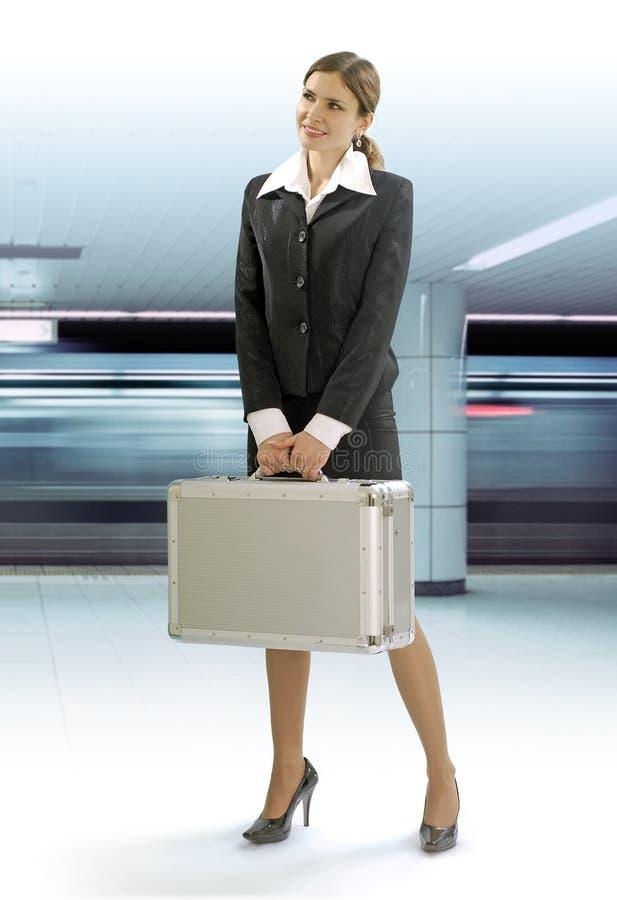 Mulher em um metro imagens de stock royalty free