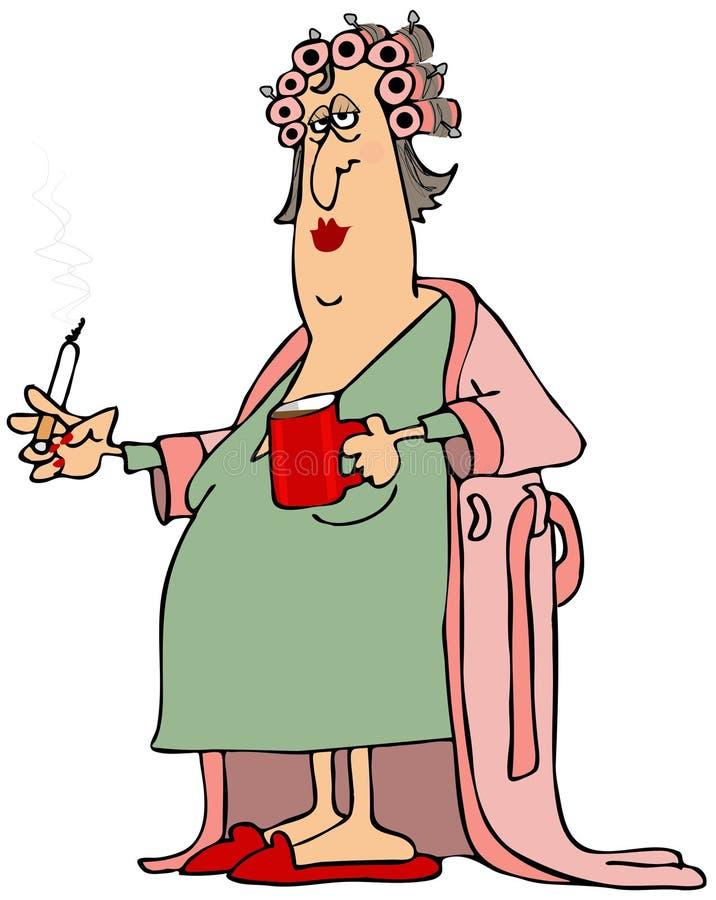 Mulher em um roupão ilustração stock