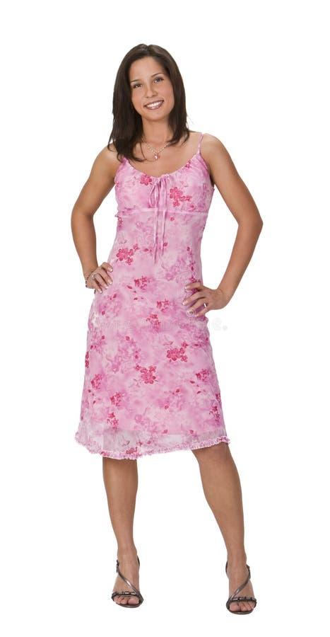 Mulher em um vestido cor-de-rosa foto de stock royalty free