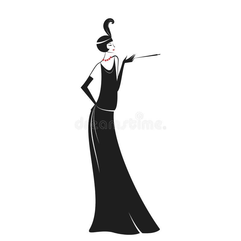 Mulher em um vestido 20 do ` s ilustração stock