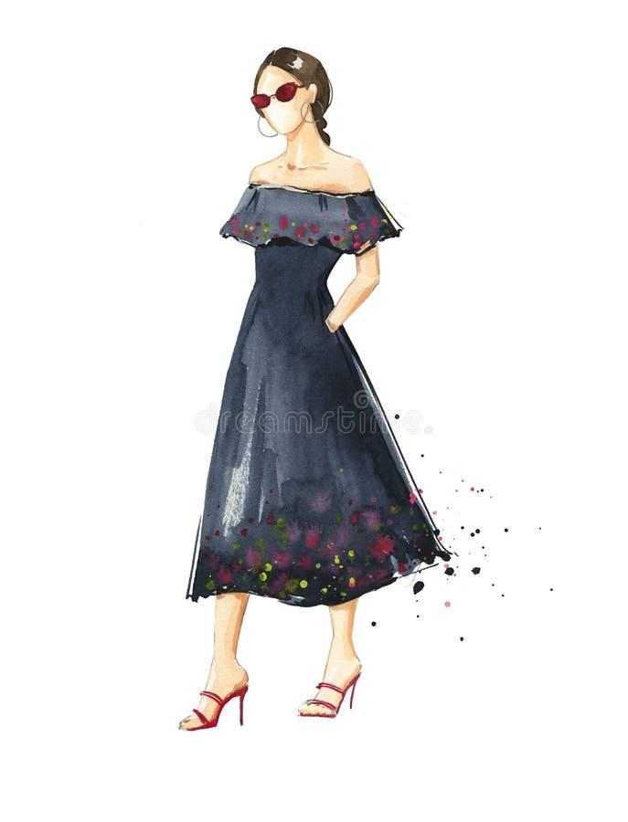 Mulher em um vestido preto do verão ilustração do vetor