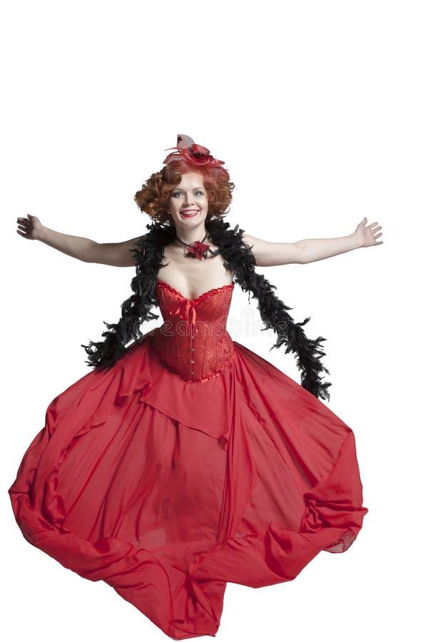 Mulher em um vestido retro do vintage vermelho imagens de stock royalty free