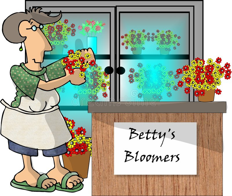 Download Mulher em uma loja de flor ilustração stock. Ilustração de daisies - 54772