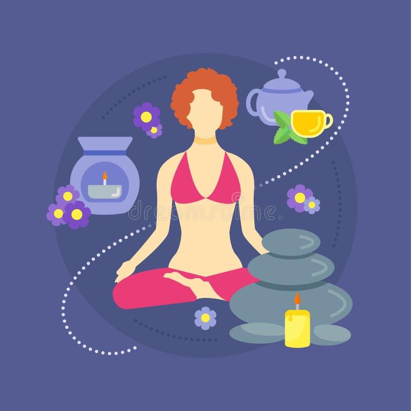 Mulher em uma posição da ioga ilustração stock