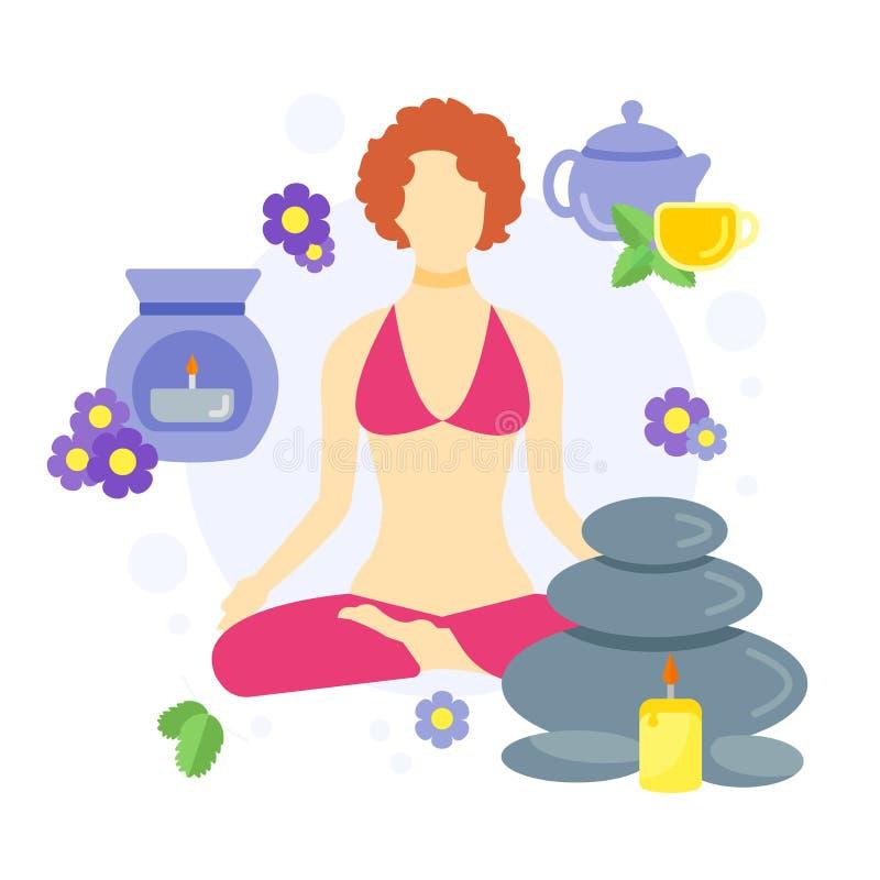 Mulher em uma posição da ioga ilustração royalty free