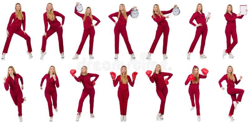 A mulher em vários conceitos dos esportes fotos de stock