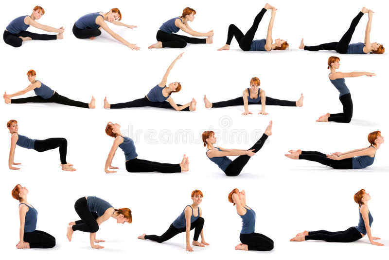 Mulher em vários Poses de assento da ioga fotografia de stock