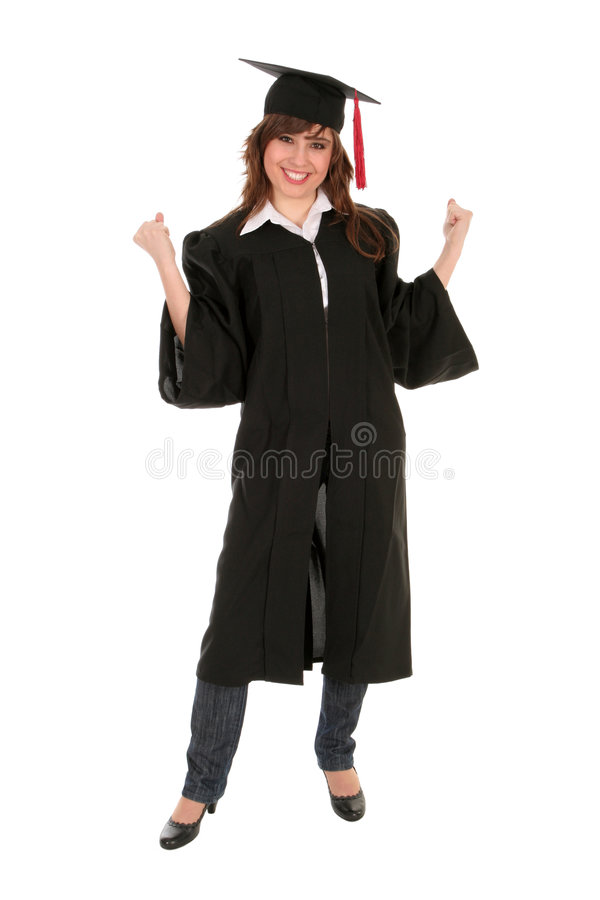 Mulher em vestes da graduação fotos de stock