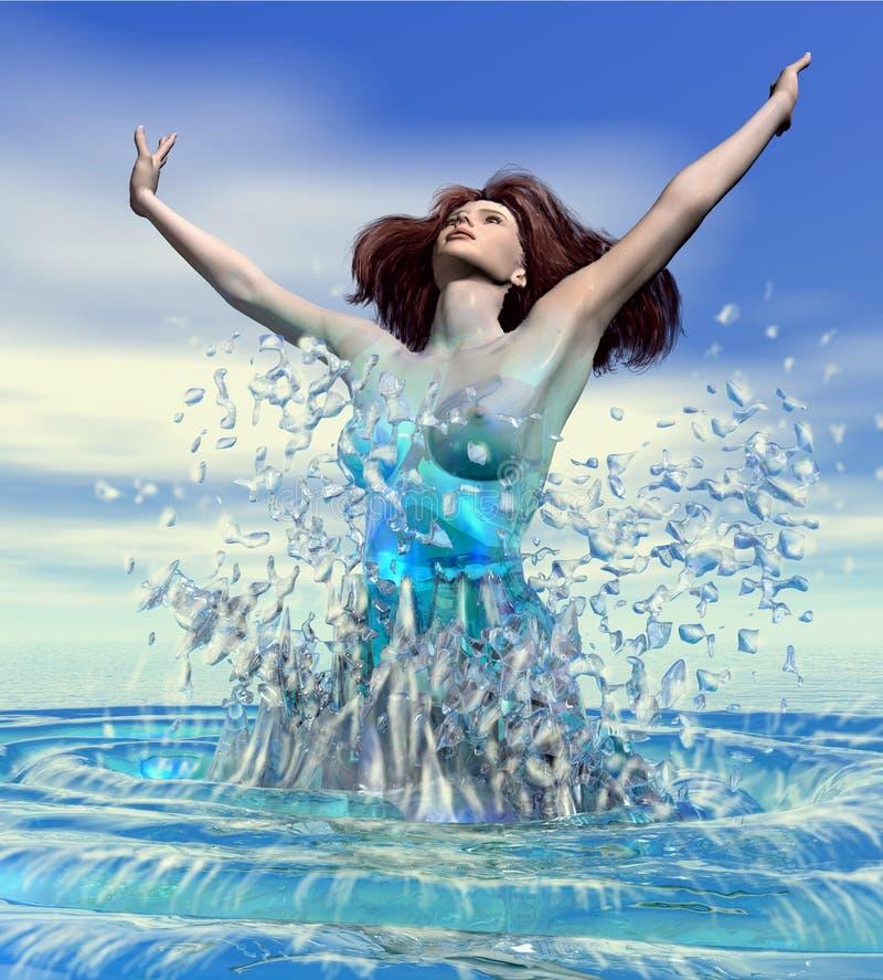 Download A Mulher Emerge Em Ser Do Mar Ilustração Stock - Ilustração de rebirth, fictional: 61557