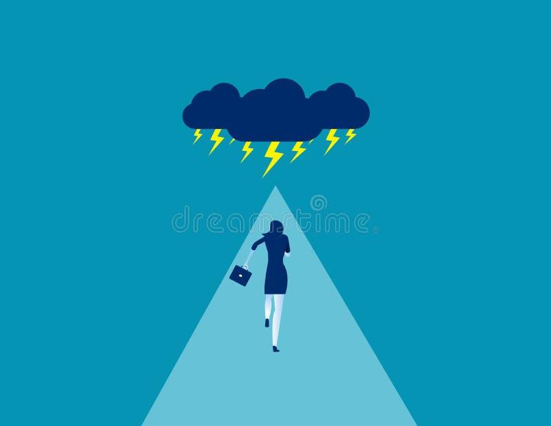 Mulher empresária enfrentando tempestade Conceito de ilustração de vetor de negócios, nuvem de tempestade, desafio, risco ilustração stock