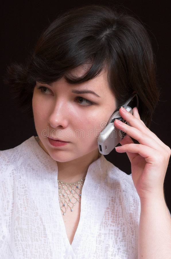 Mulher encantadora com móbil imagens de stock