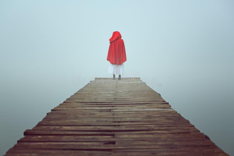 A mulher encapuçado vermelha olha o lago nevoento foto de stock