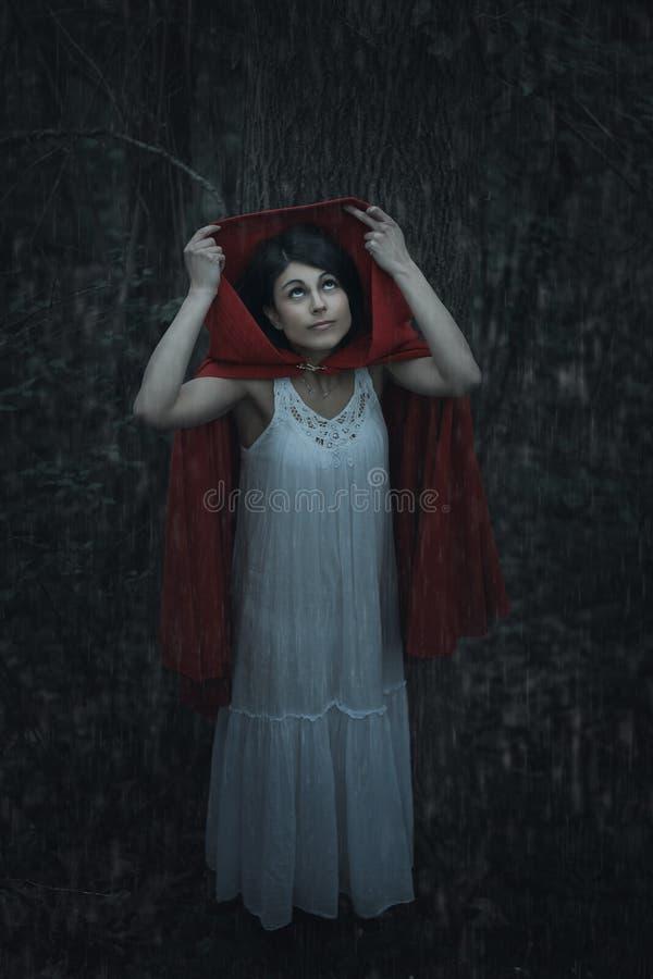 Mulher encapuçado vermelha sob a chuva fotos de stock royalty free