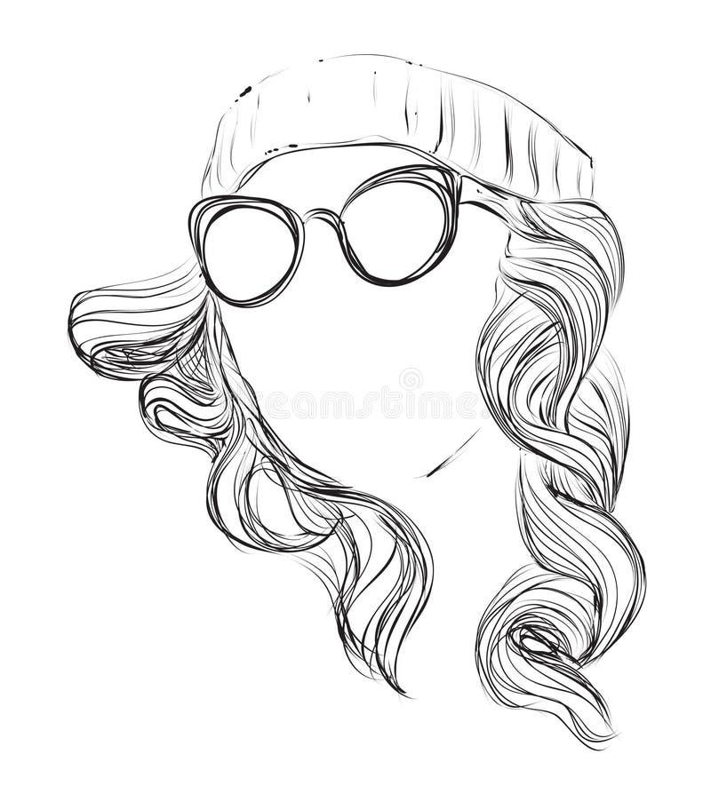 Mulher encaracolado da forma nos vidros ilustração royalty free