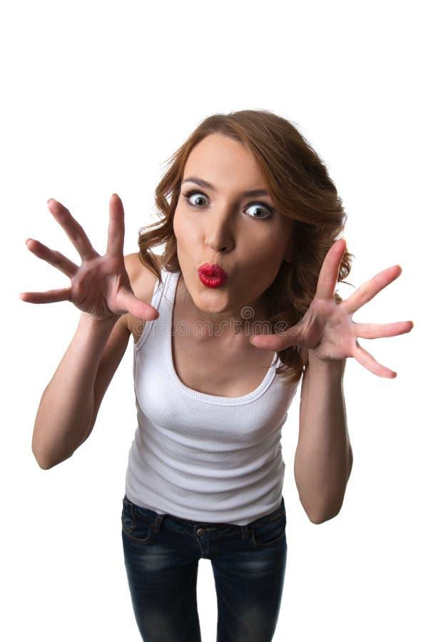 Mulher engraçada com o susto principal cómico isolado fotografia de stock