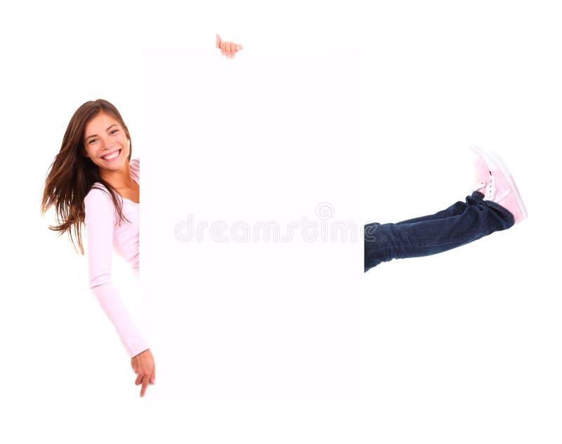 Mulher engraçada do sinal imagens de stock royalty free
