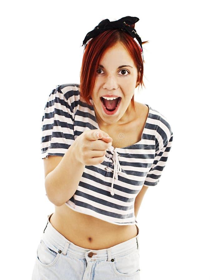 Mulher entusiasmado do estilo do pino-acima com dedo fotografia de stock