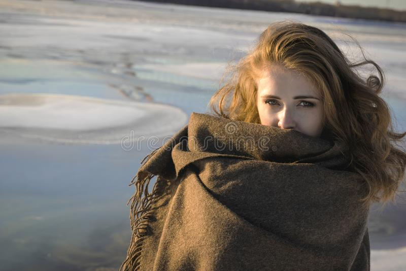 Mulher envolvida na cobertura grande cinzenta no parque nevado do inverno Conceito do inverno foto de stock