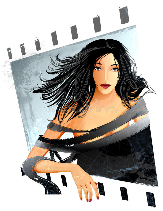 Mulher envolvida na película ilustração royalty free