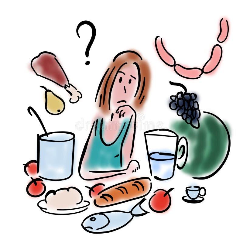 A mulher escolhe o alimento ilustração royalty free