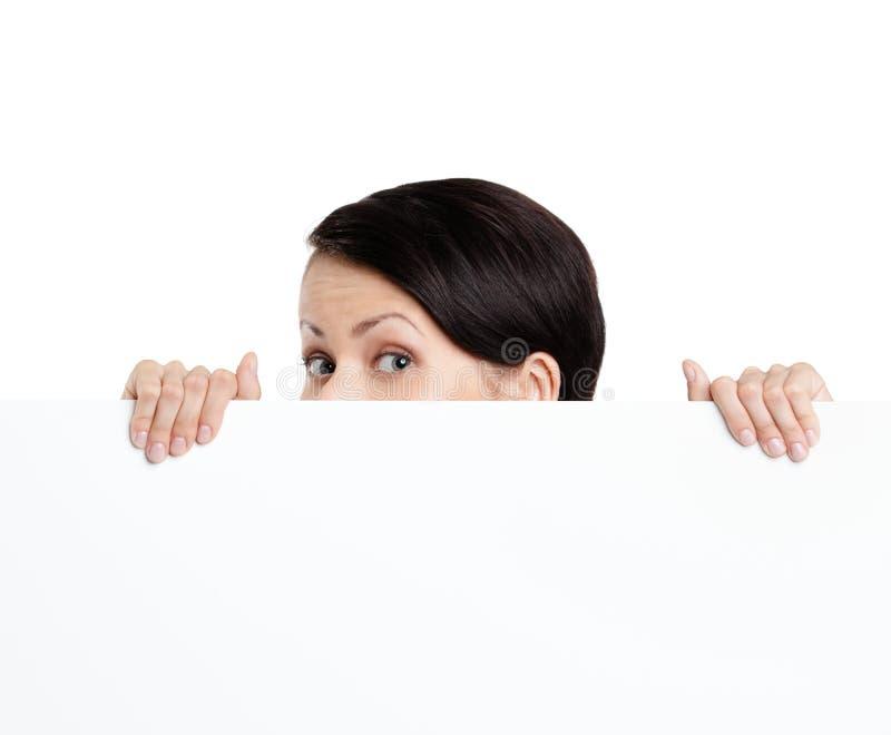 Mulher escondendo imagem de stock